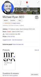 Michael Ryan SEO Google My Business