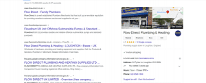 Example of a search engine page with a prominent google my business section