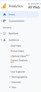 Google Analytics Navigation Bar